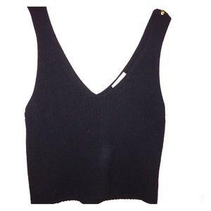 Knit Black Crop Top Tank